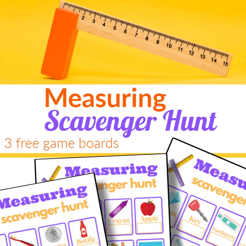 top image - wood ruler and eraser, bottom image - 3 measuring scavenger hunt sheets