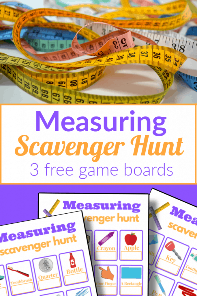 top image - pile of colorful measuring tapes, bottom image - 2 colorful measuring scavenger hunt game boards with title text reading Measuring Scavenger Hunt 3 free game boards