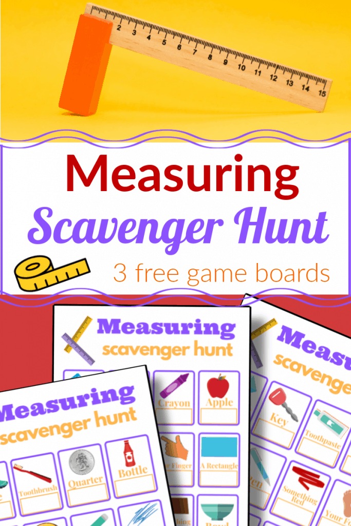 top image - wood ruler and eraser, bottom image - 3 measuring scavenger hunt sheets with title text reading Measuring Scavenger Hunt 3 free game boards