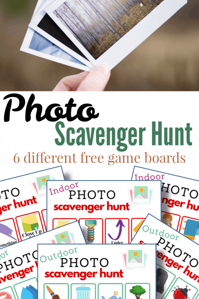 hand holding polaroid photos and images of 6 photo scavenger hunt game boards