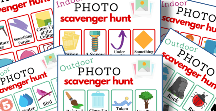 close up of 6 colorful photo scavenger hunt game boards