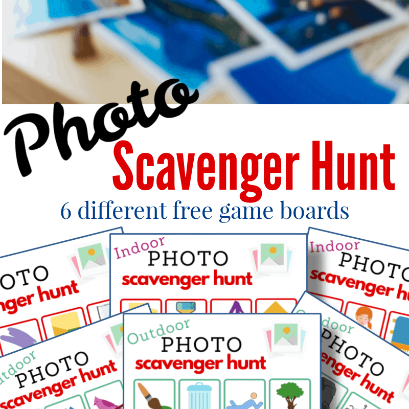 top image blue Polaroid photos on table, bottom image - 6 photo scavenger hunt sheets