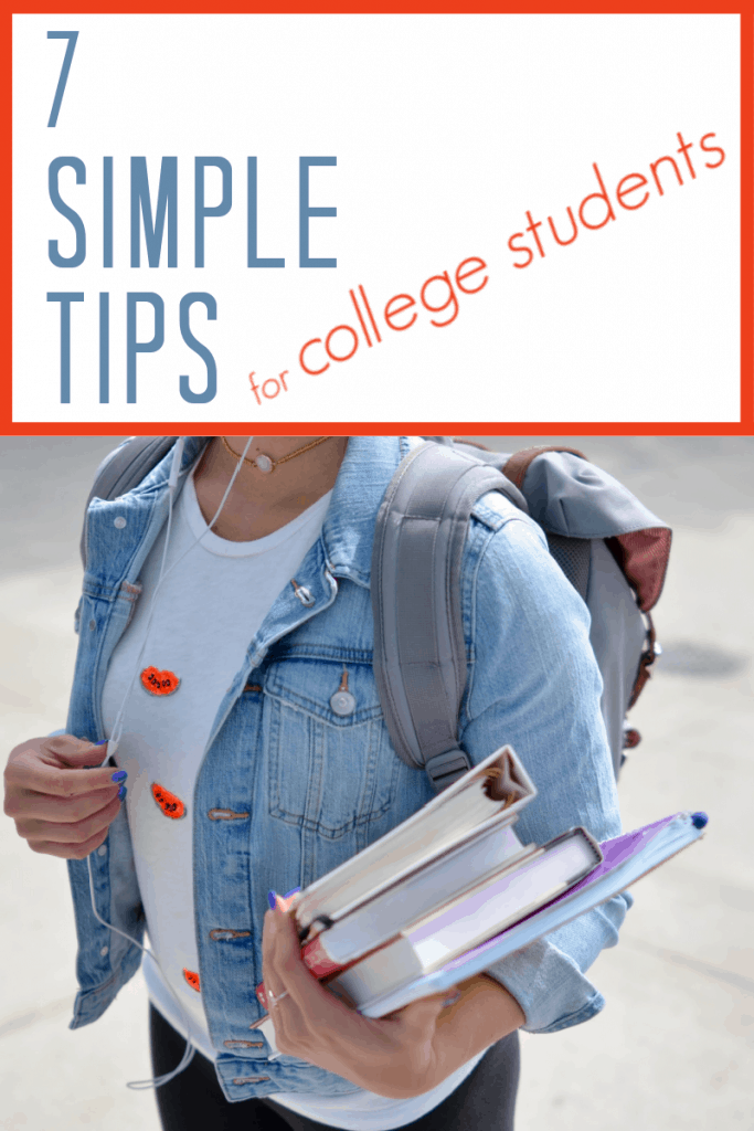 teen in jean jacket with backpack and holding stack of books with title text reading 7 Simple Tips for College Students