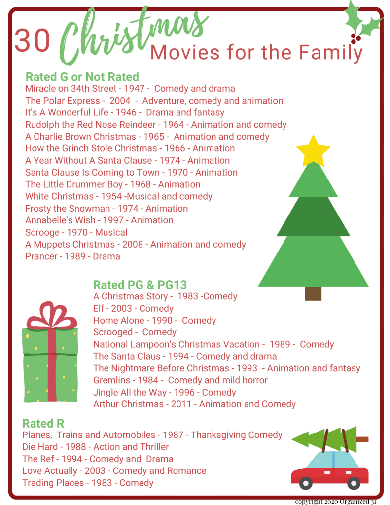 text of lists of best family Christmas movies with clip art style holly berries, Christmas tree, gift box and red car with a tree tied on top