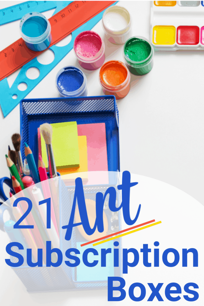 child's paints and art supplies on white table with title text overlay reading 21 Art Subscription Boxes