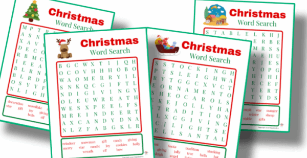 close up of 4 Christmas word search sheets