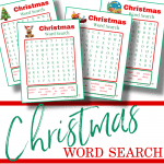 4 red and green Christmas word search pages