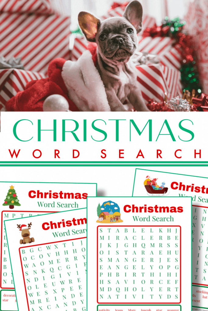 top image - dog peeking out of Christmas stocking, bottom image - 4 Christmas word search pages