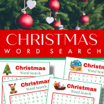 top image - red and white ornaments on pine tree - bottom image - 4 red and green word search sheets