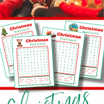 top image - family wearing red and white winter socks, bottom image - 4 word search sheets