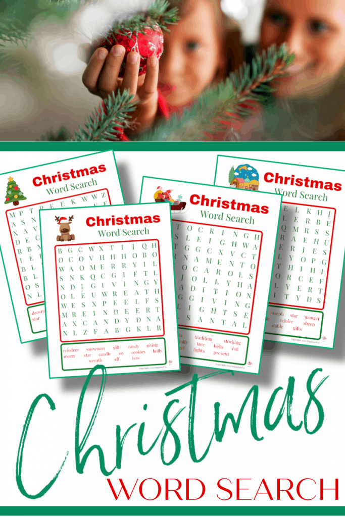 top image mom and child reaching for red ornament, bottom image - 4 Christmas word search sheets in red and green
