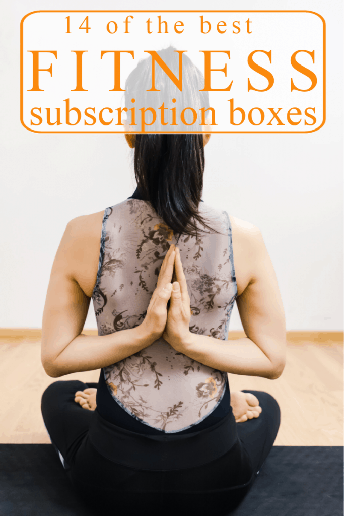woman in yoga pose on black mat with title text overlay reading 14 of the best fitness subscription boxes