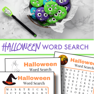 top image- purple and green cookies with eyeballs, bottom image 3 Halloween word search pages