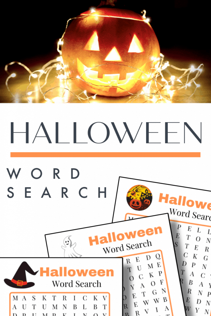 top image - jack o'lantern with fairy light strand, bottom image - 3 word search for Halloween pages