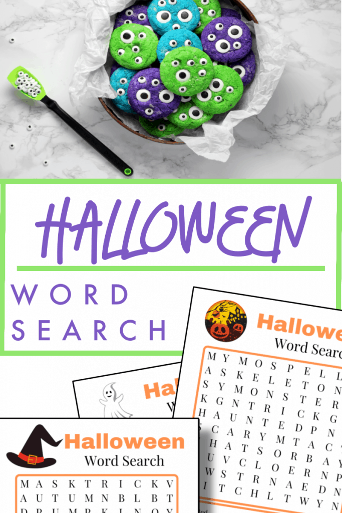 Top image - overhead view of plate of purple and green cookies with eyes, bottom image - 3 Halloween word search games