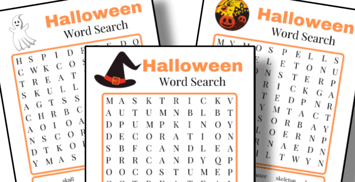 close up of 3 Halloween word search sheets