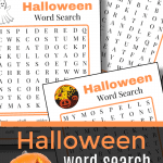 3 orange and black Halloween word search game pages with jack o'lantern in bottom corner