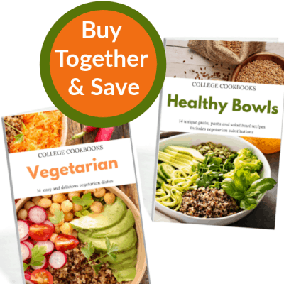 "2 cookbook covers with orange and green circle that says ""buy together and save"""