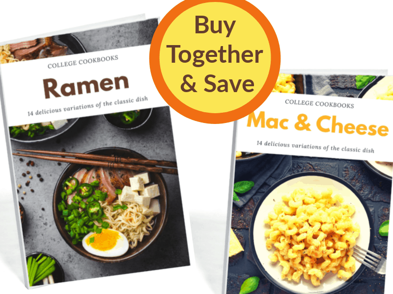 2 cook book covers and yellow and orange circle with text