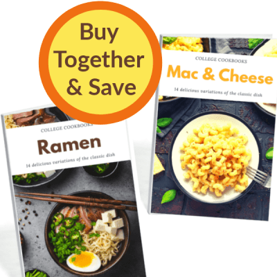 "2 cookbook covers with yellow and orange circle that says ""buy together and save"""