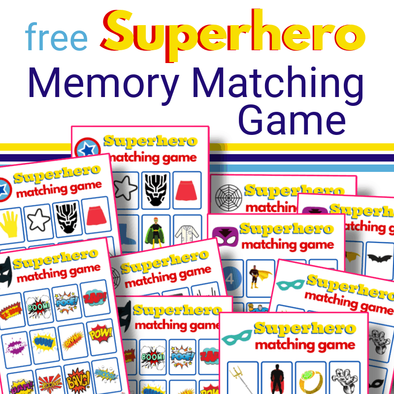superhero memory matching game boards with text title