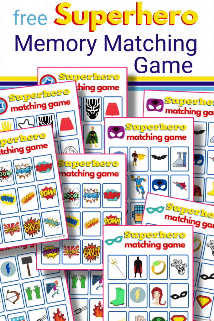 10 colorful superhero memory matching game printables with title text reading free Superhero Memory Matching Game