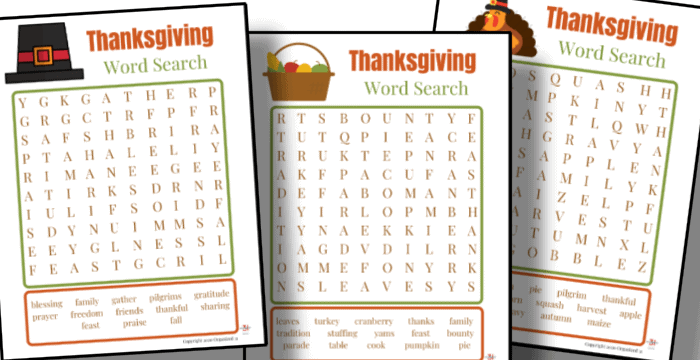 3 autumn colored Thanksgiving word search pages