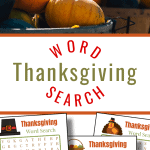top image - pile of pumpkins in basket, bottom image - 3 word search sheets
