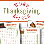 close up of 3 Thanksgiving word search sheets