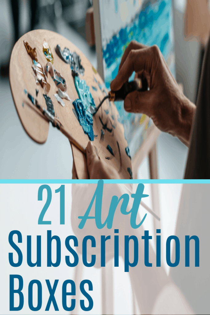 woman holding paint pallet with multiple colors of blue paint with text overlay reading 21 Art Subscription Boxes