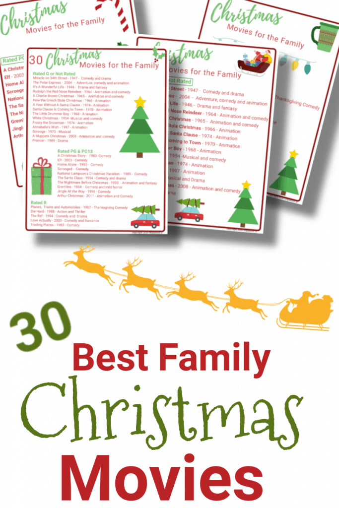 4 colorful lists of Christmas movies with yellow Santa sleigh below with title text reading 30 Best Family Christmas Movies