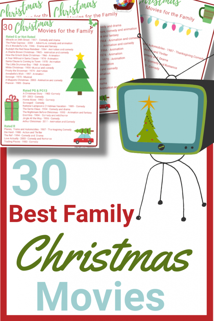 retro TV with Christmas tree on screen with 4 red and green movie lists sheets
