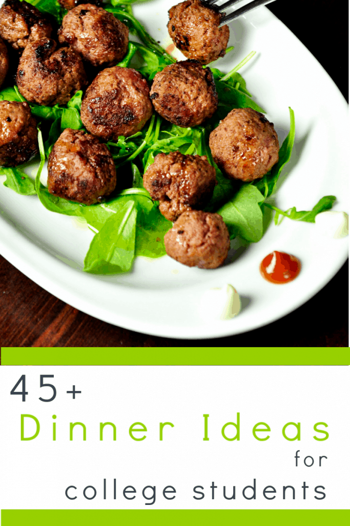 meat balls and salad on white plate