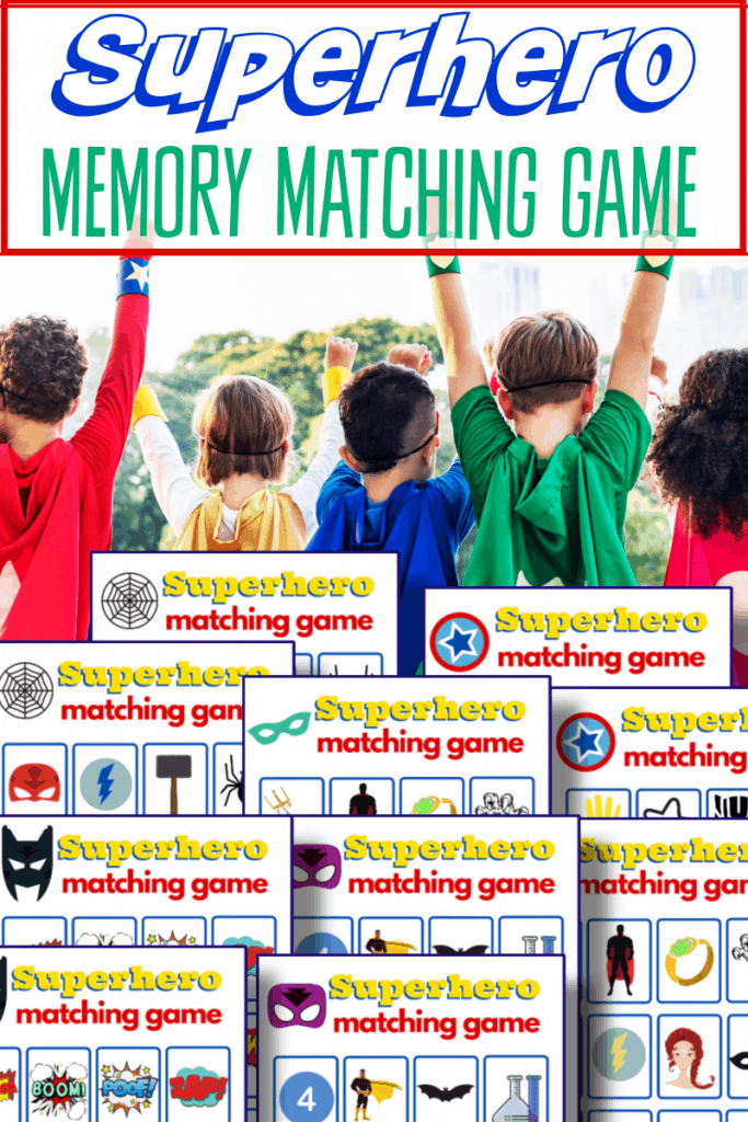 top image - children dressed as superheroes with arms up, lower image - colorful superhero game boards