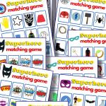 10 colorful memory matching game for superhero printable