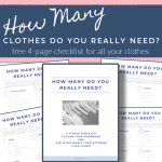 images of 4 checklists and cover of how many clothes do you need