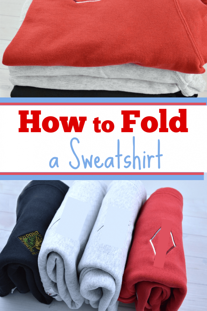 top image - stack of folded sweatshirts, bottom image - 4 file folded sweatshirts