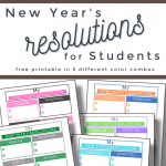 5 colorful versions of a resolutions worksheet