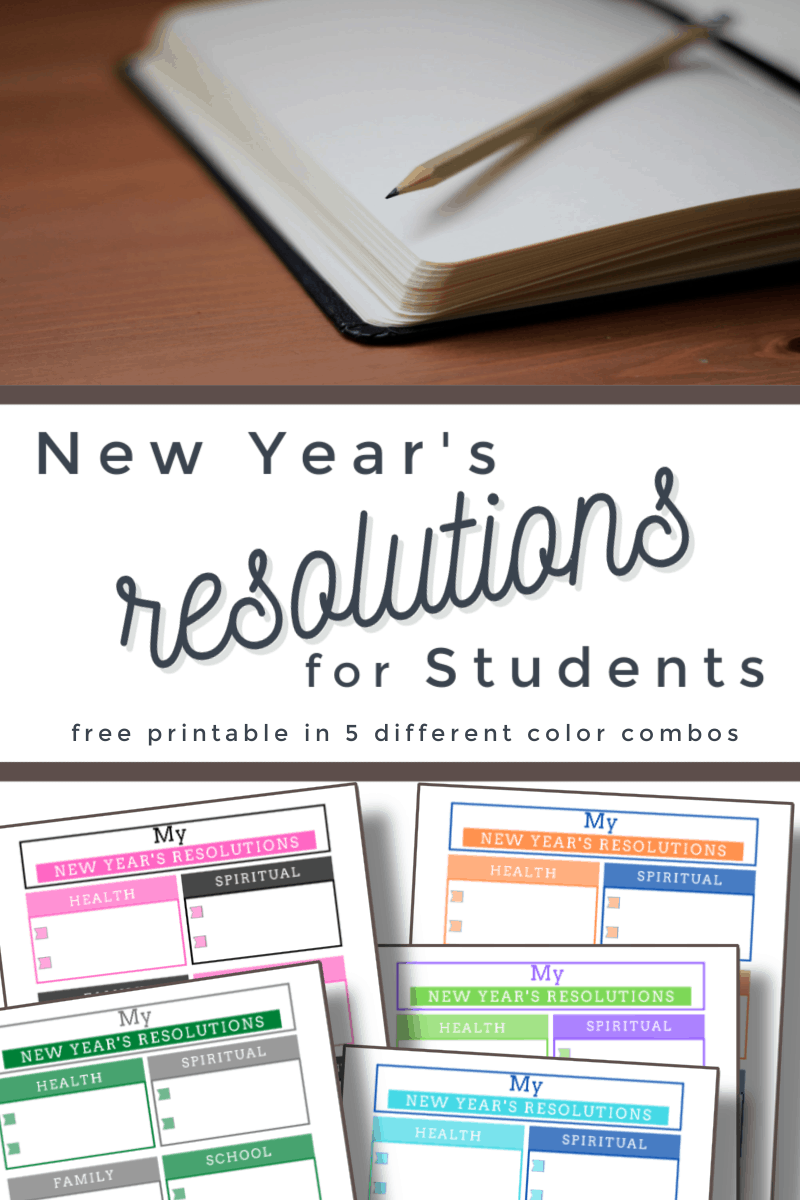 top image - open journal, bottom image - 5 colorful worksheets with title text reading New Year's Resolutions for Students