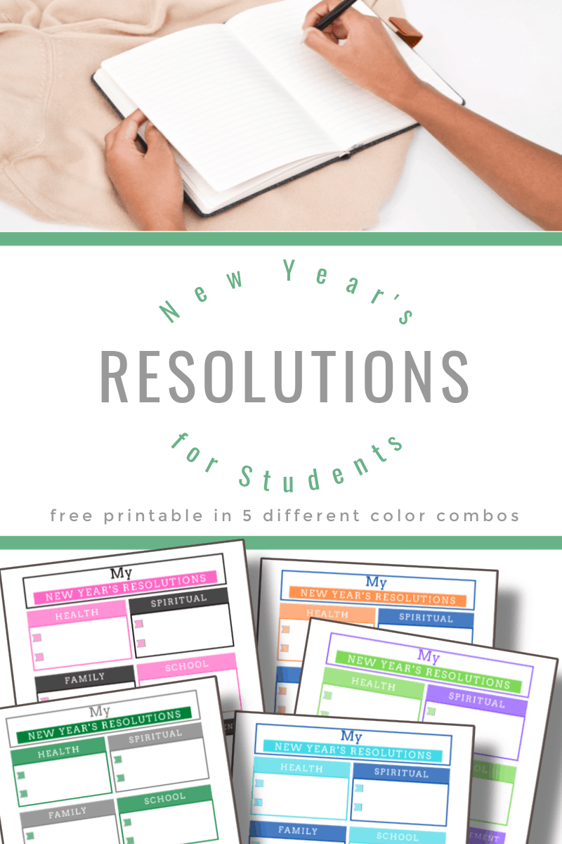 top image - someone writing in journal, bottom image - 5 brightly colored worksheets with title text reading New Year's Resolutions for Students