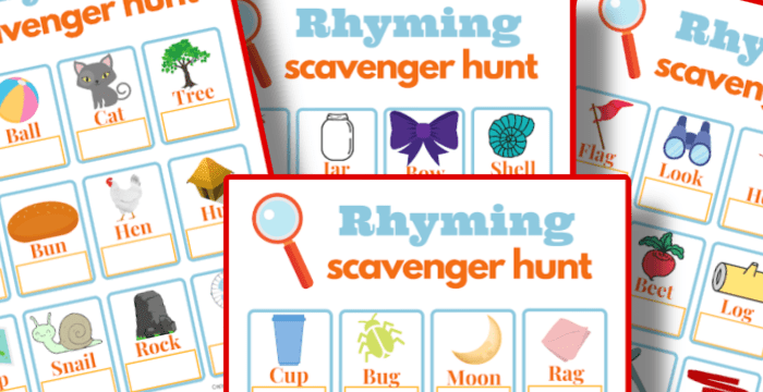close up of 4 colorful scavenger hunt game boards
