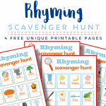 4 brightly colored scavenger hunt printable game pages