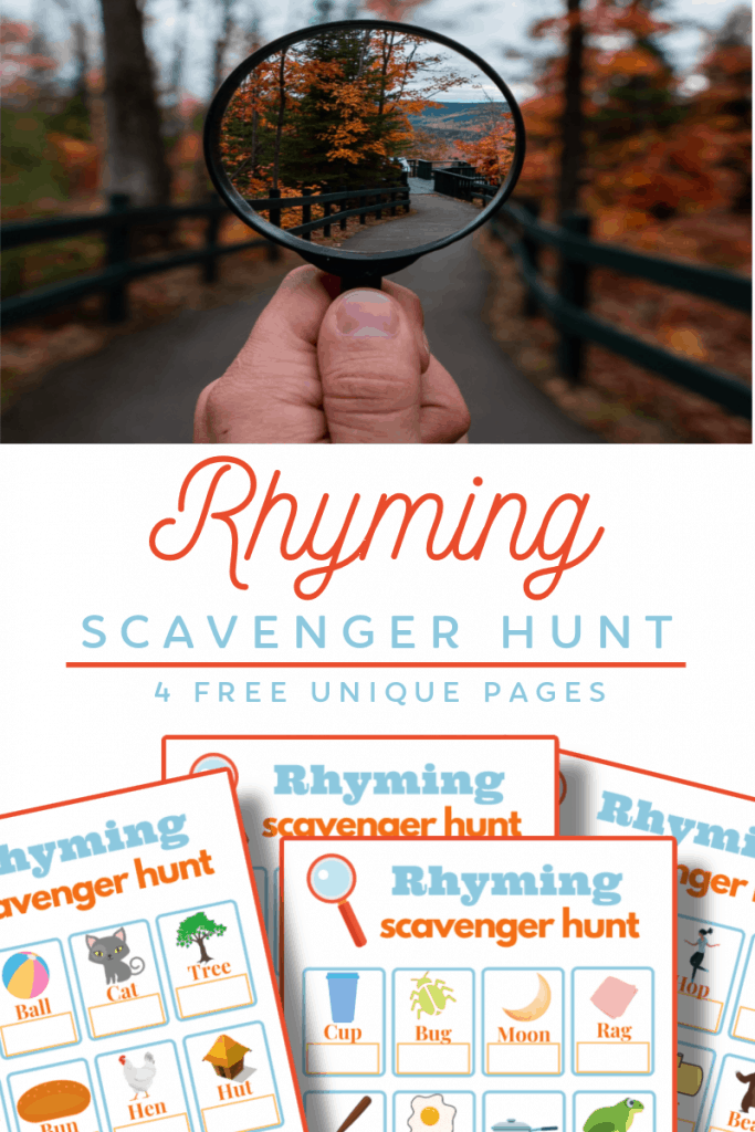 top image - hand holding magnifying glass outside, bottom image - 4 brightly colored scavenger hunt pages with title text reading Rhyming Scavenger Hunt