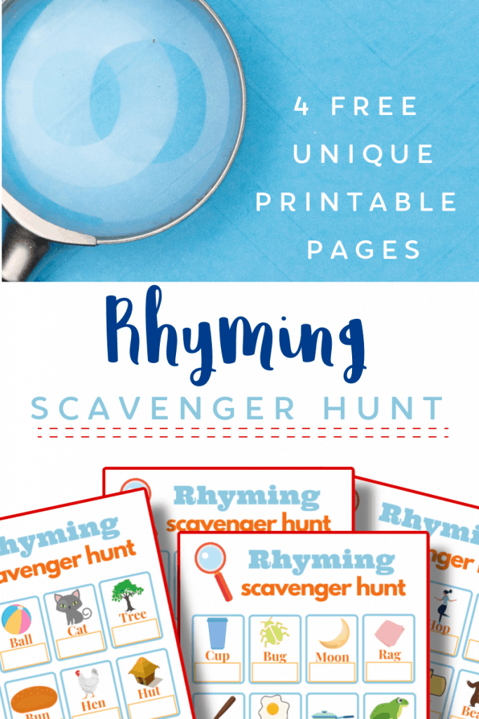 top image - magnifying glass on blue background, bottom image 4 colorful game boards for scavenger hunt with title text reading Rhyming Scavenger Hunt