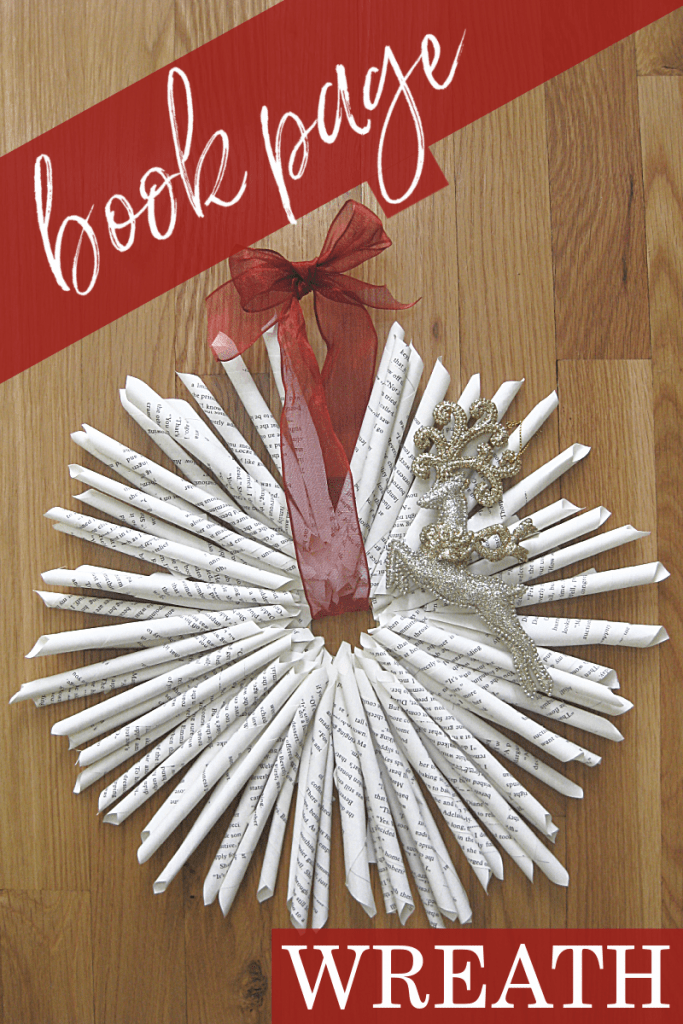 wreath made from pages on wood table with title text reading Book Page Wreath