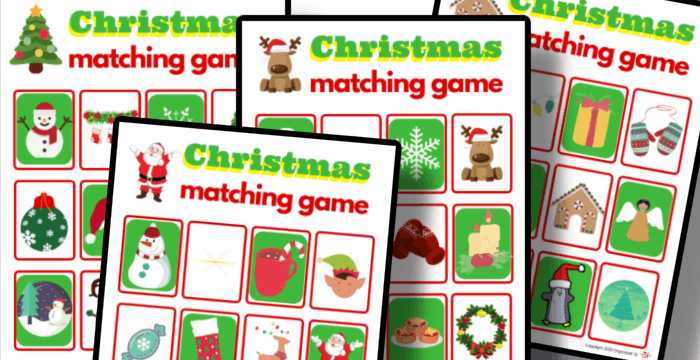 close up of 4 colorful Christmas memory matching game