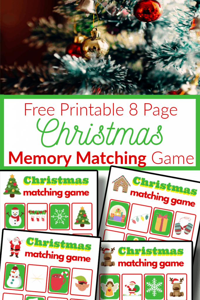 top image - Christmas tree ornaments on tree, bottom image - 4 brightly colored memory matching game sheets