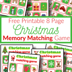 colorful Christmas memory matching game boards