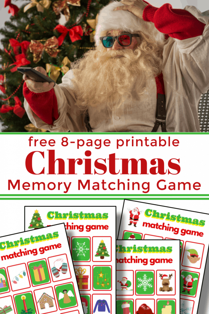 top image - Santa with 3-D glasses. bottom image - 4 memory matching game boards with title text reading free 8-page printable Christmas Memory Matching Game