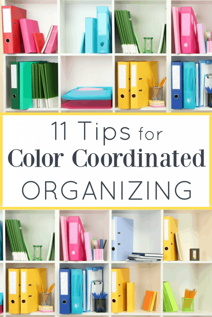 White square shelving unit with books and binders organized by color with title text overlay reading 11 Tips for Color Coordinated Organizing